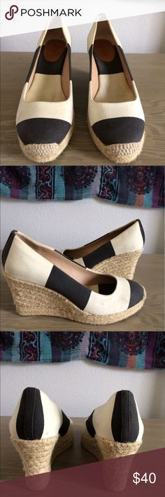 Striped wedges Very comfortable, good quality J. Crew Shoes Wedges