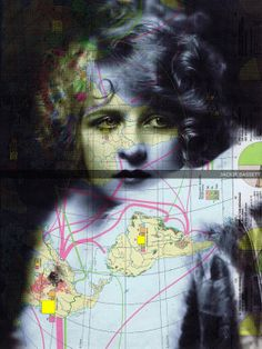 Collage.Print.Map.Gift. Woman.Roaring by studioflowerpower on Etsy, $8.50