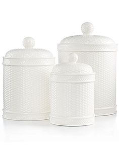 Martha Stewart Collection Set of 3 Whiteware Basketweave Canisters - Serveware - Dining & Entertaining - Macy's