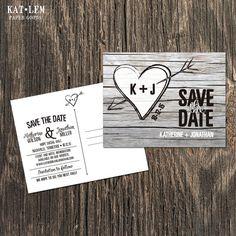 Beachwood Save the Date  Heart monogram Save by katleminvitations