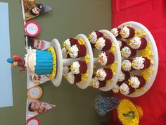 Curious George first birthday cupcake tower by Bliss First Birthday Cupcakes, 1st Birthday Themes, 1st Boy Birthday, 1st Birthday Parties, Birthday Ideas, Curious George Party, Curious George Birthday, Amazing Cakes, First Birthdays