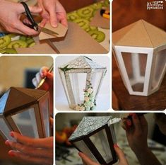 Craft a lamplight from cardboard . Love this idea, wood paint it rustic & use frameless candle inside. Ramadan Crafts, Ramadan Decorations, Christmas Decorations, Christmas Tree Crafts, Christmas Tree Design, Cardboard Crafts, Paper Crafts, Street Lamp, Paper Lanterns