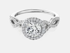 14kt white gold criss-cross diamond halo semi-mount engagement ring with 0.36ctw. Center diamond sold separately. | Diamond Engagement Rings from Don'...