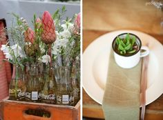 Use of bottles and jars for florals but not branded. Protea Wedding, Wedding Flowers, Use Of Bottle, Safari Wedding, Bottles And Jars, Coke, How To Introduce Yourself, Crates, Florals