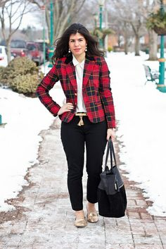 red plaid blazer and gold