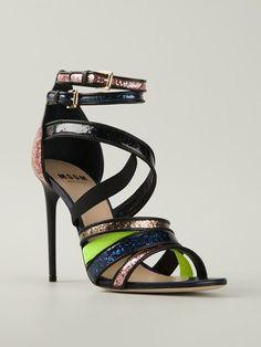 Msgm Glitter Strappy Sandals - Di Pierro - Farfetch.com