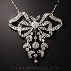 Edwardian Bow and Garland Diamond Necklace