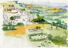Village Gaulois d'Acy-Romance  Évocation aquarellée du village d'Acy-Romance et des nécropoles environnantes  © Bernard Lambot