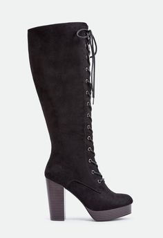 These boots are sure to get you noticed with their knee-high lace up construction and platform heel....