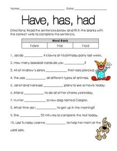 To go along with the second grade Harcourt grammar during the story 'Chinatown' but could be used for any grade at any time. This worksheet has nothing to do with teaching have/has/had, just to be used as a practice or even an assessment.: