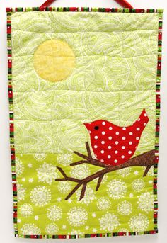 """red bird wall quilt for Christmas, winter- """"Merry Bird"""" in bright red on lime and white, Ready to ship"""