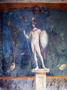 Fresco of a statue of Mars in the House of Venus, Pompeii