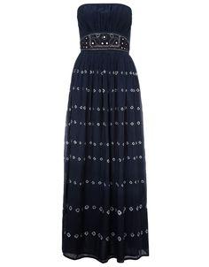 Naina Bandeau Maxi Dress | Blue | Monsoon
