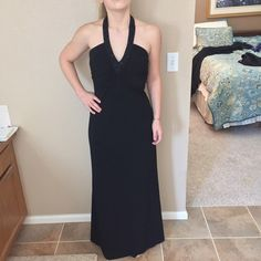 ABS Allen Schwartz Deep V Beaded Halter Gown Sold out everywhere! This evening gown is perfect for date night or a formal occasion. ABS Allen Schwartz Dresses Prom