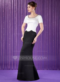 Pretty! Trumpet/Mermaid Scoop Neck Floor-Length Satin Mother of the Bride Dress With Beading (008018722) $136