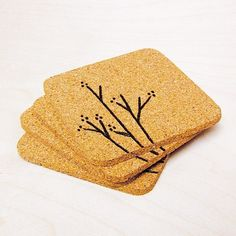 instead of coasters, Ikea has the cork things for hot pads.same concept. Homemade Coasters, Cork Coasters, Craft Gifts, Diy Gifts, Ikea Cork, Wood Burning Crafts, Bird On Branch, Great Housewarming Gifts, Free Gift Cards
