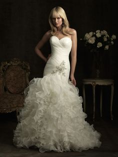 2012 Allure Bridal - White & Silver Ruched & Ruffled Organza Strapless Sweetheart Drop Waist Wedding Gown - 2 - 32