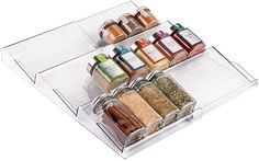 Amazon.com: mDesign Adjustable, Expandable Plastic Spice Rack, Drawer Organizer for Kitchen Cabinet Drawers - 3 Slanted Tiers for Garlic, Salt, Pepper Spice Jars, Seasonings, Vitamins, Supplements - Clear: Kitchen & Dining Do It Yourself Organization, Spice Organization, Kitchen Cabinet Organization, Organizing Life, Organizing Ideas, Closet Organization, Drawer Spice Rack, Spice Storage, Storage Shelves