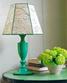 Lampshade with map from Martha Stewart. Use nautical chart.