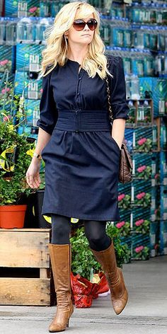 Navy dress and tights with brown boots.