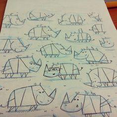 Rhinoceros herd sketch, Andrew Kolb
