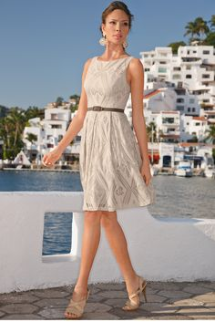 Belted eyelet dress from Boston Proper Casual Elegant Style, Classic Style Women, Classic Fashion, Casual Chic, Unique Clothes For Women, Travel Clothes Women, Dress Outfits, Casual Dresses, Boston Proper