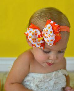 Halloween Headband Candy Corn Bow Infant by MyKidsCuterBowtique, $9.99