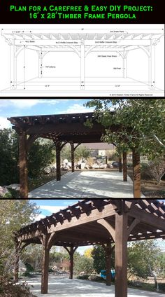 Plan for a 16' x 28' timber frame DIY pergola from Western Timber Frame.