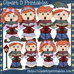 Christmas Carolers Red- #Clipart #ResellableClipart #ResellerClipart #Christmas #Carolers #Music #StreetLight #Boys #Girls