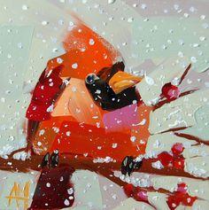 Cardinal no. 127 original winter bird oil by Angela Moulton prattcreekart on Etsy