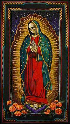 Santa Muerte - Our Lady of the Holy Death Los Muertos Tattoo, Mary Tattoo, Day Of The Dead Art, Mexican Art, Skull And Bones, Pics Art, Religious Art, Skull Art, Chicano
