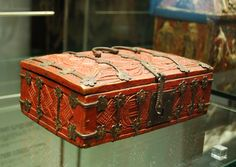 Two Minnekastchen (small highly decorated caskets for holding documents or a few books) from the 14th century in the Museum fur angewandte Kunst, Cologne, Germany.