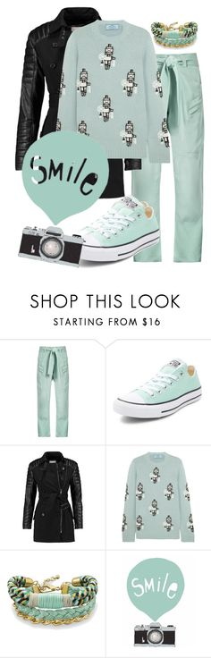 """""""Black & Mint Casual Look"""" by velvy ❤ liked on Polyvore featuring Raey, Converse, W118 by Walter Baker, Prada and BillyTheTree"""