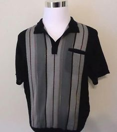 1960s Fashion, Mens Fashion, Style Fashion, Casual Shirts, Casual Outfits, Retro Lounge, Casual Wear For Men, Striped Cardigan, Vintage Wear