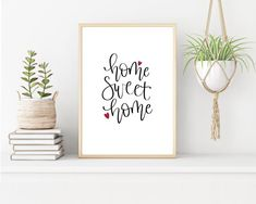 Home Sweet Home Modern Calligraphy Wall Art Print | Etsy from Dixie & Joy Lettering       Home is where your heart is - if you're lucky enough to know this fact then home is your special place.    #homesweethome #minimalist #giftidea #newhomegift #housewarming