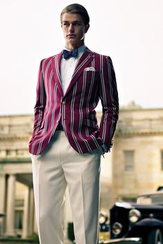 Menswear: Brooks Brothers clothing for men inspired by the and The Great Gatsby costumes including clothes, shoes, boater hats and accessories. Gatsby Outfit, Gatsby Costume, Great Gatsby Men Outfit, Preppy Mode, Preppy Style, The Great Gatsby, Mode Masculine, Brooks Brothers, Gatsby Man