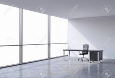 A workplace in a modern corner panoramic office, copy space on windows. A black leather chair and a black table. A concept of financial consulting services. 3D rendering. Archivio Fotografico - 42362655