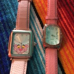 Pink Panther Watch & Pink watch Set Both watches were loved. They need batteries replaced. Otherwise in excellent condition. Any questions please ask. Quartz Accessories Watches
