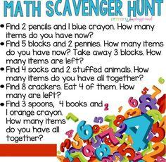 Math Scavenger Hunt - Combine Look Preschool At Home, Preschool Learning, Kindergarten Math, Preschool Activities, Teaching, Math Math, Preschool Schedule, Number Activities, Toddler Schedule