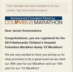 "janani66: ""Signed up for my first marathon. Excited and terrified at the same time. But, I'm crazy enough to do the full marathon. #CMnation"" Columbus, OH"