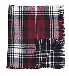 Mud Pie Knit Plaid Blanket Reversible Scarf (Burgundy) at Amazon Women's Clothing store: