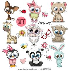 Set of Cute Cartoon Animals. Set of Cute Animals on a white background royalty free illustration Cute Animal Illustration, Cute Animal Drawings, Cute Drawings, Cartoon Drawings Of Animals, Character Illustration, Cute Cartoon Animals, Cute Animals, Cartoon Wolf, Animals And Pets