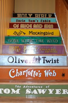 Painted stairs with Classic Books