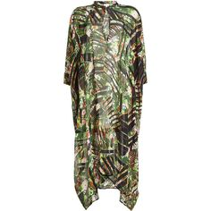Lala Berlin Printed Silk Kaftan (5.950 ARS) ❤ liked on Polyvore featuring tops, tunics, green, lala berlin, scallop edge top, caftan tops, evening tops and special occasion tops