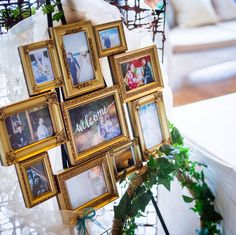 フォトフレームで作るウェルカムボードのデザインまとめ   marry[マリー] Our Wedding, Gallery Wall, Frame, Party, Home Decor, Interior, Valentines Day Weddings, Picture Frame, Decoration Home