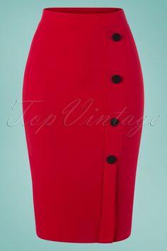 Vintage Chic for TopVintage Ginny Pencil Skirt in Lipstick Red - Ropa de moda - Lipstick Pencil Skirt Dress, Pencil Skirt Outfits, Pencil Skirts, Classy Work Outfits, Classy Dress, African Fashion Skirts, Clubbing Outfits, Red Skirts, Casual Skirts
