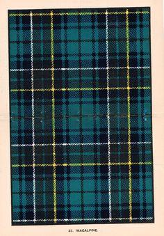 "Johnston's Scottish Tartans - ""MACALPINE"" - Chromolithograph - c1890"