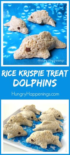 Use a dolphin shaped bento mold to transform ordinary cereal treats into these sweet Rice Krispie Treat Dolphins for your summertime party. These treats are so easy to make that you will have an entire pod of them ready for your party guests in about Dolphin Birthday Cakes, Dolphin Birthday Parties, Dolphin Cakes, Dolphin Party, Dolphin Food, Dolphin Craft, Birthday Treats, Party Treats, Zoo Birthday