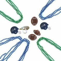 Seattle Seahawks Super Bowl Party Favors: Bead Necklaces & Rings