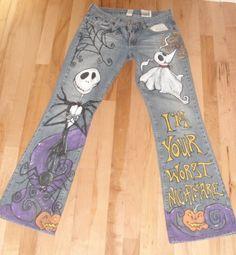 Hand Painted Custom Halloween Jack Jeans by scatterbirdie on Etsy